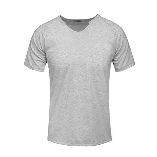Fashion Men's Short Sleeve Solid Comfortable Casual Slim T-Shirt Sport Tops -