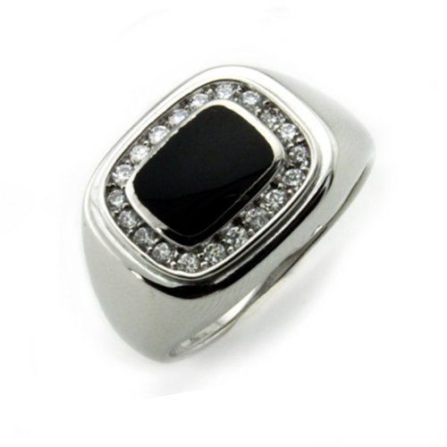 - Men's Square Face Faux Onyx Sterling Silver Ring, Size 13.5