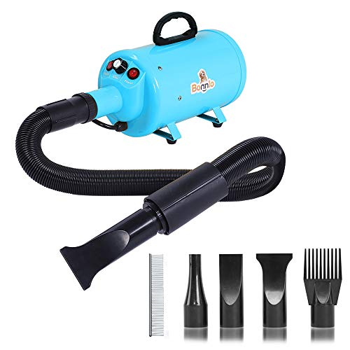 Bonnlo 2400W 3.2HP Stepless Adjustable Speed Pet Dryer Dog Hair Dryer Pet Grooming Blower with...