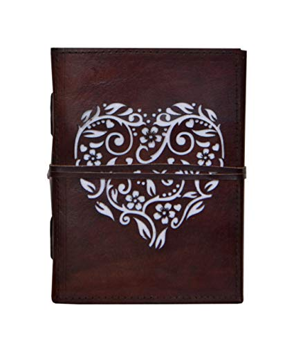 (Vintage Handmade Cut Work Journal Leather Cover Heart Blank Notebook Journal Diary Daily Planner Travel Journal Diary Spiral Notebook with Unlined Paper Gift 7x5)