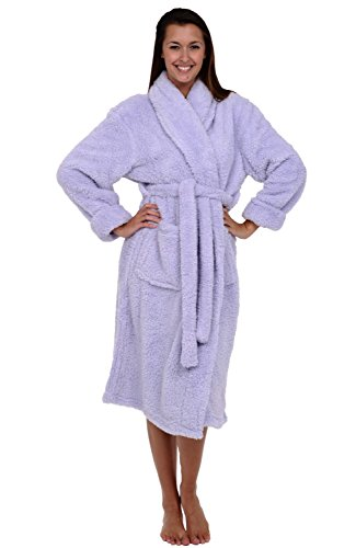 Alexander Del Rossa Womens Solid Color Fleece Robe 3 4 Length Plush Microfiber Bathrobe Buy