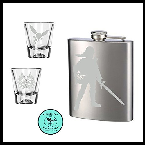 Legend of Zelda inspired etched Flask and set of TWO etched shot glasses . Navi and Majora shot glasses, Link etched stainless steel flask.