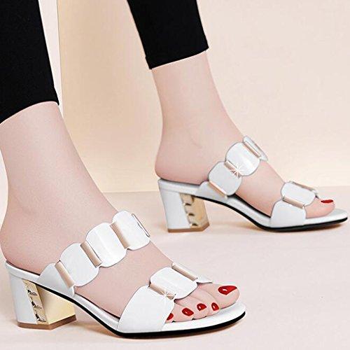 Talons Épais PU Bout Pantoufles Hauts Été Sandales À Talons Ouvert Caoutchouc Femme Blanc Chaussures 7Pw6C6q