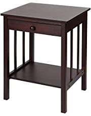 SortWise Bamboo Nightstand with Drawer and Shelf Storage Multipurpose End Side Table Home Furniture