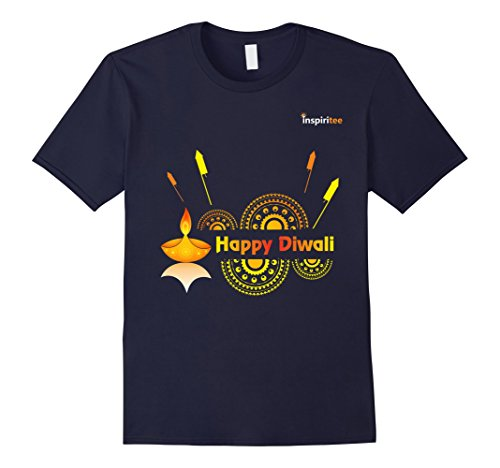 Mens Inspiritee - Happy Diwali - T Shirt 3 Small Navy by Inspiritee