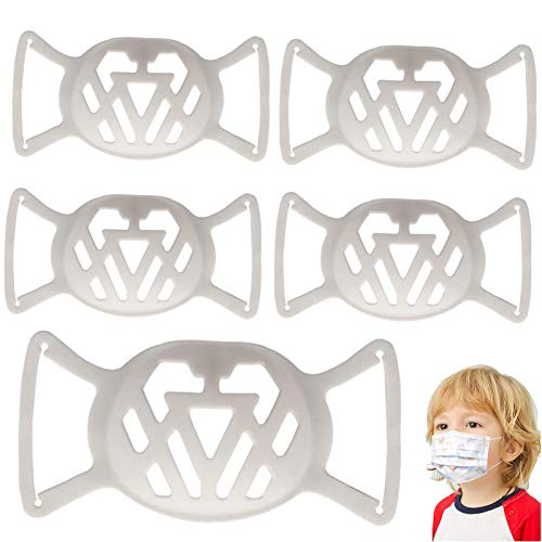 5 Pcs 3D Face Mask Bracket Kids Silicone Mask Bracket with Ear Loops Small 3D Inner Support Bracket for Cloth Mask