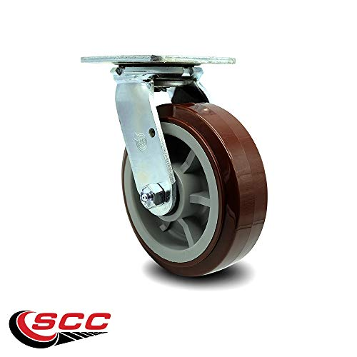 Service Caster - 6'' Heavy Duty Polyurethane Wheel Swivel Casters - Non Marking - 750 lbs/Caster - Set of 4 by Service Caster (Image #3)