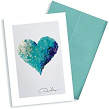 Single Aqua Sea Glass Heart Note Card. 3x5 Blank Card with Classy Envelope. Best Birthday Cards, Thank You Notes & Invitations. Unique Christmas, Mother's Day & Valentines Gifts for Women