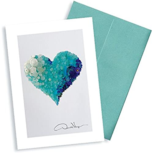 Aqua Sea Glass Heart Note Cards. 3.5x5 Set of 8 Blank Cards Matching Envelopes. Great Birthday Cards, Thank You Sales