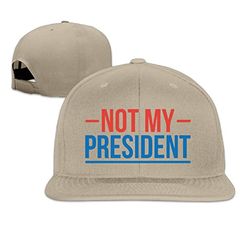 Trump Not My President Flat Brim Baseball Caps for Women Men LightGrey (8 Colors)