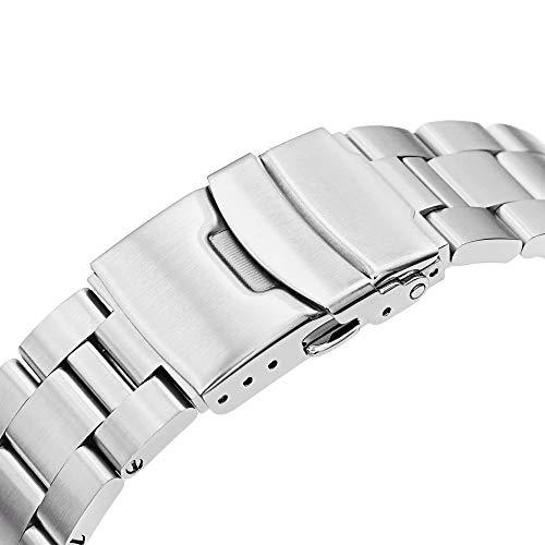 20 mm Super-O Boyer Watch Armband för Seiko Mid-Size Dykare SKX023, Dyklås, borstad