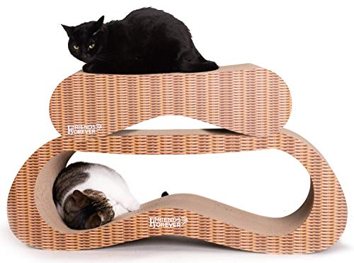 Friends Forever Jumbo Cat Scratcher Cardboard Lounger, 2 in 1 Cat Scratching Post – Corrugated Scratch Lounge Classic Urban Design For Sale