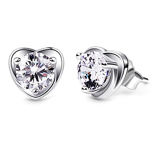 B.Catcher Earring Studs Heart Shape 925 Sterling Silver Cubic Zirconia Heart Stud...