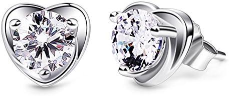 B.Catcher Femmes Boucles d'oreilles en Argent 925 Clous d'oreilles Coeur Diamantées Zirconium cubique Amour éternel Saint-Valentin Cadeau