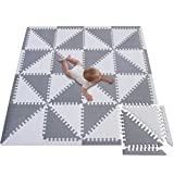 Meiqicool Baby Crawling Mat Puzzle Play Foam Tiles Non Toxic Playmat Floor Mats for Tummy Time,3510HUI