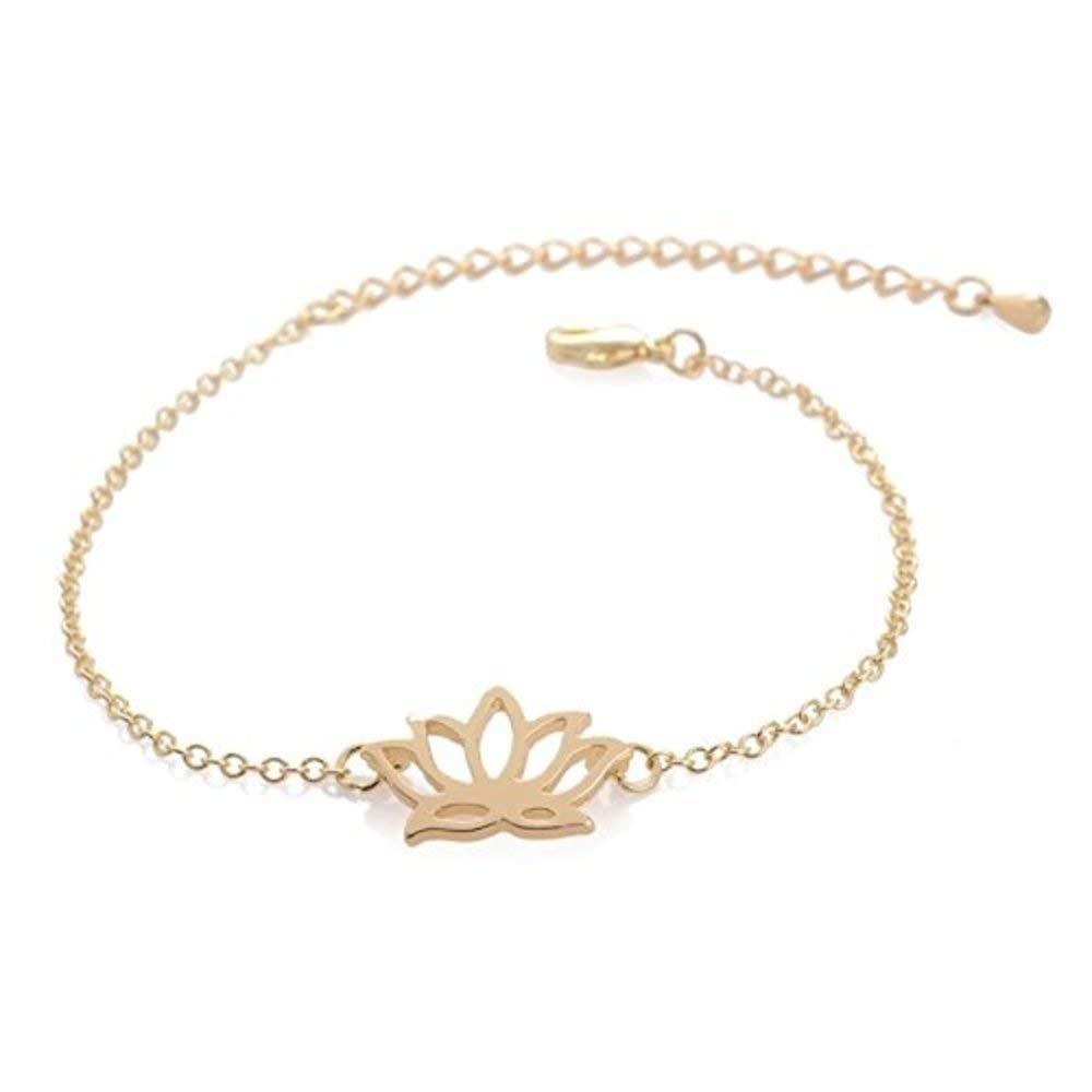 GOOD.designs Lotus bracelet with small lotus-blossom pendant in plated copper alloy, bracelet in silver or gold bracelet in silver or gold (Gold) GD GOOD.designs EST. 2015