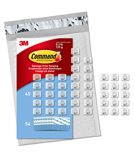 Command Clear Mini Light Clips, 45 Clips, 54 Strips – Easy to Open Packaging, Decorate Damage-Free