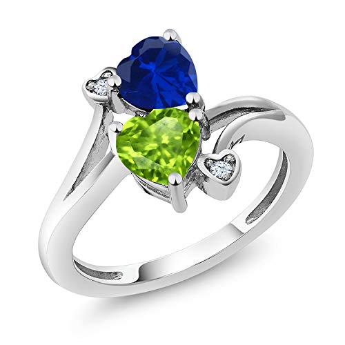 Green Sapphire Natural (Sterling Silver Heart Shape Blue Simulated Sapphire & Green Peridot Women's Ring 1.66 cttw (Size 7))