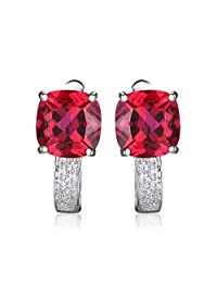 JewelryPalace Cushion 4.6ct Created Red Ruby Clip On Hoop Earrings 925 Sterling Silver