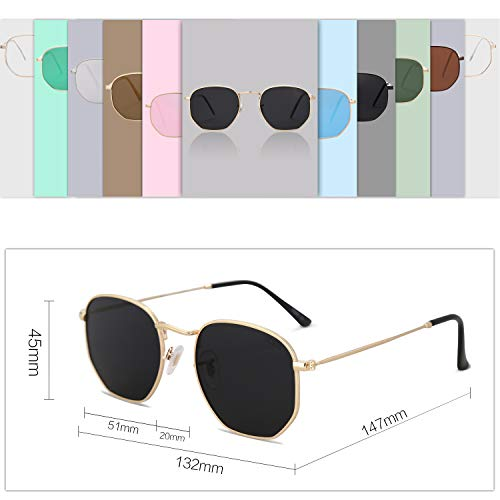 d3d43cf505 SOJOS Small Square Polarized Sunglasses for Men and Women Polygon Mirrored  Lens SJ1072 with Gold Frame
