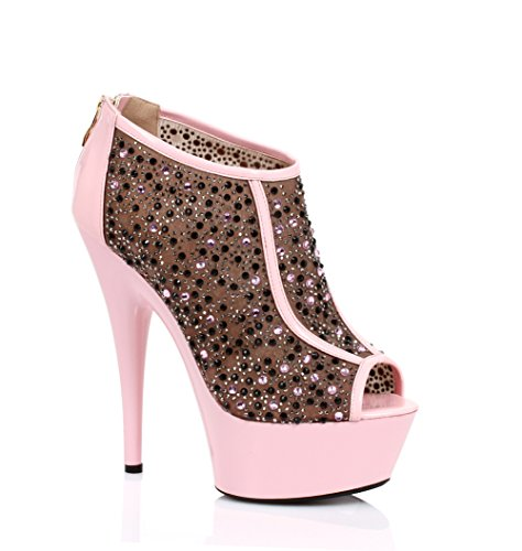 Stiletto Sexy 6 Comode Stiletto Womens Ellie 609-kaitlyn / A Contrasto E Multi Strass Rosa