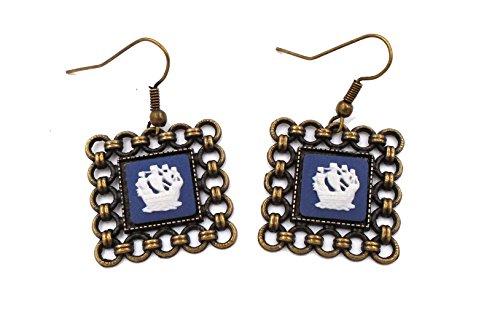 Cameo Wedgwood Earrings (Wedgwood: Brass & Navy Blue Jasperware Earrings
