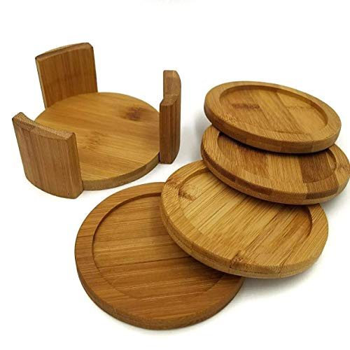 (Coaster Set with Holder | Bamboo Wood | Includes 4 Round Coasters and one Holder | Use for Drinks, Beverages, Beer, Coffee! | Barware Kitchen | Housewarming (Bamboo, Brown, Wood))