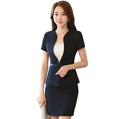 日帰り旅行に被る生むビジネススーツ レディース 2点セット 半袖 スカート 入学式 就職 セレモニー 制服 女性