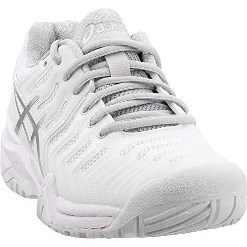 (ASICS Women's Gel-Resolution 7 Tennis Shoe, White/Silver, 7.5 M US)
