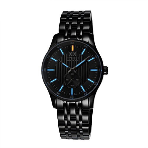 EPOCH 6021GN waterproof tritium gas blue luminous steel strap black dial mens business quartz watch wristwatch -  EPOCH 7012G blue black