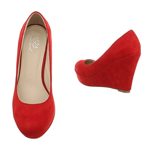 King Of Shoes Damen Mary Jane Keil Pumps Plateau High Heels Wedges Keilabsatz F8 Rot