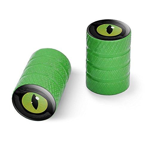 オートバイ自転車バイクタイヤリムホイールアルミバルブステムキャップ - グリーン猫の緑の目