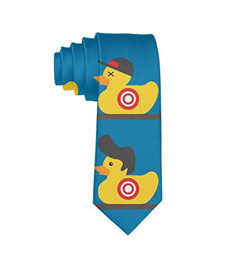 MrDecor Men's Skinny Tie Rubber Yellow Duck Art Fashion Causal Floral Printed Silk Necktie -