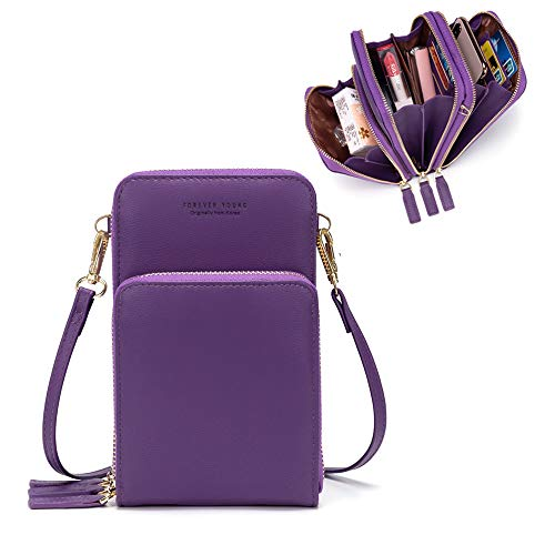 Small Leather Crossbody Cell Phone Shoulder Bag for Women, Smartphone Wallet Purse with Removable Shoulder Strip for Shopping(Purple)