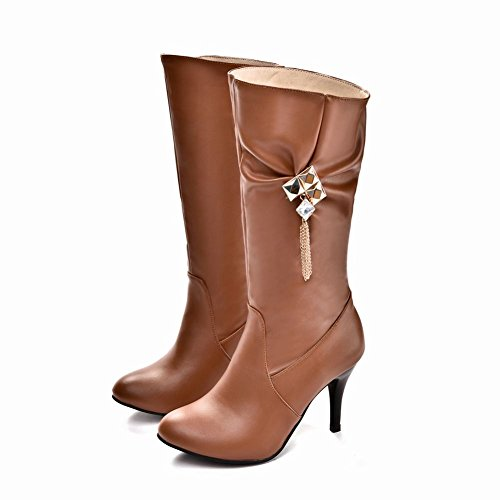 Carolbar Womens Plus Size Rhinestones Fashion Sexy Date High Heel Mid-Calf Boots Yellow Brown wnuM0X4X