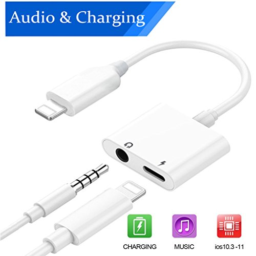 Lightning Jack Audio +Charger Adapter for iPhone 7/7P/8/8P/X/10. Aux Headphone Jack 2 in 1 Lightning to 3.5mm Audio Connection Converter and Charging Adaptor. Music Control Support iOS 10.3/iOS 11 ()