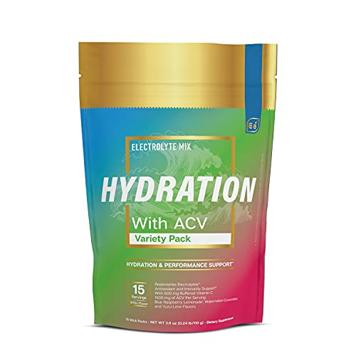 Hydration Powder Packets – Variety Pack   Electrolyte & Recovery Drink Mix   with ACV & Vitamin C   15 Stick Packs – by…