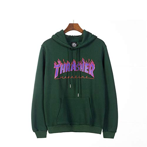 Thrasher Flame Fashion Casual Student Couple Men and Women Hoodie Pullover Sweater,Green,M by LeNG sweater