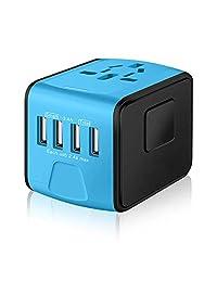 Adaptador de corriente de viaje universal, adaptador europeo, cargador rápido internacional de 2,4A 4-USB a nivel mundial, adaptador de enchufe de pared de CA para América, Europa, Reino Unido y Australia