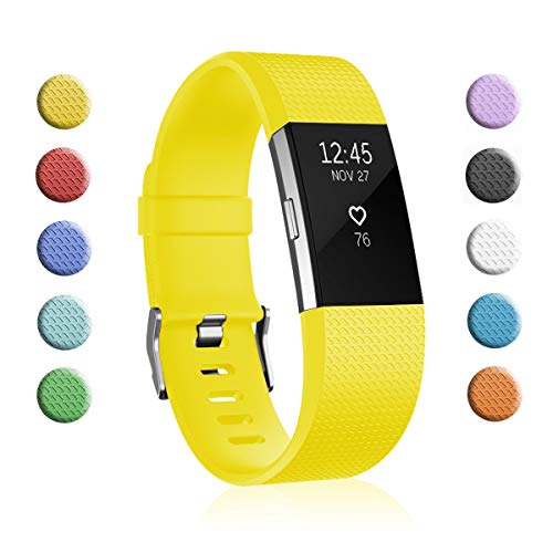 Fundro Replacement Bands Compatible with Fitbit Charge 2, Classic & Special Edition Adjustable Sport Wristbands (1-Pack Lemon Yellow, Small (5.5