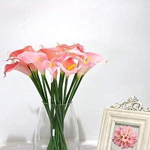 Satyam Kraft 10 Pcs Artificial Flower Rubber Lily Sticks for Bouquet Decoration, DIY Artificial Garland Supplies Lilly Flower Sticks 10 Sticks (Pink)