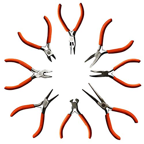 Wire Nose Pliers Flat - 8 Piece Set of Plier Tools by Kurtzy - Wire Cutters, Flat Nose Pliers, Round Nose Pliers and more - Heavy Duty Tool Kit for Electrical and Wood Work, DIY and Jewellery Making - Ergonomic Handle