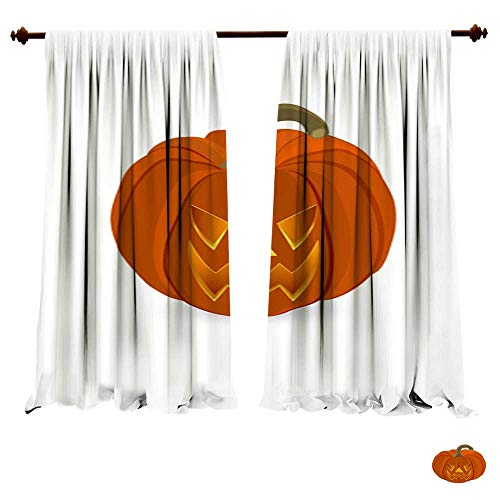 Blackout Room Darkening Curtains Wicked Pumpkin for Halloween Jack Lantern1 Thermal Insulated Window -
