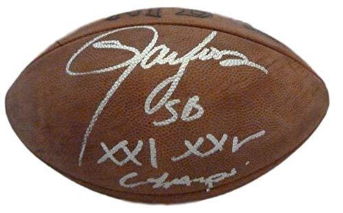 (Lawrence Taylor Autographed Official NFL Football SB XXI XXV Champs JSA)