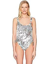 Women's Side Lace U-Neck One Piece Swimsuit