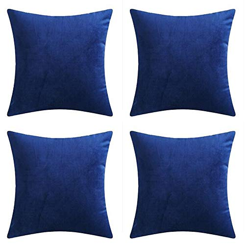 """Andreannie Set of 4 Velvet Super Soft Comfortable Solid Decorative Throw Pillow Cover Cushion Case for Sofa Living Room 18 inches,20 inches Square (Dark Blue, 18""""x18"""")"""
