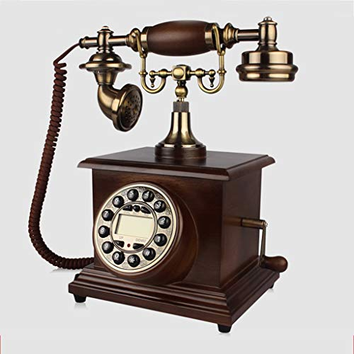 2 Hotel Line Speakerphone (19-Yiruculture Home Wired Telephone Retro Phone with Rotary dial Office Phone Vintage European Style Vintage Phone Solid Wood Home Rotary Dialing Metal Home Phones (Color : A))