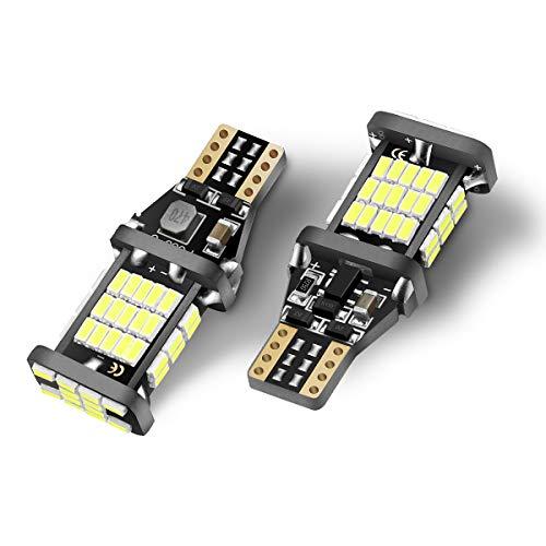 912 LED Bulb SEALIGHT 921 LED Reverse Backup Light T15 LED Bulb 6000K Xenon White 54 SMD-3014 LEDs Canbus Error Free T15 906 904 902 W16W for Back Up Lights Replacement for Cars RV Trucks SUVs 2 Pack