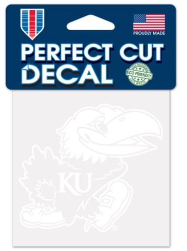 WinCraft NCAA Kansas Jayhawks 4x4 Perfect Cut White Decal, One Size, Team Color