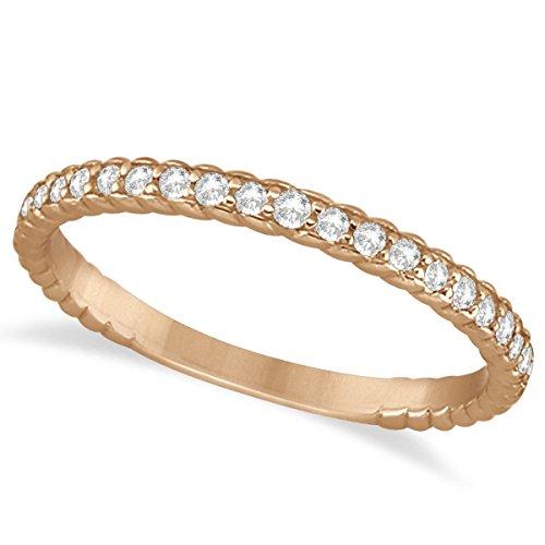 (0.21ct) 14k Rose Gold Diamond Rope Style Semi Eternity Wedding Band by Allurez